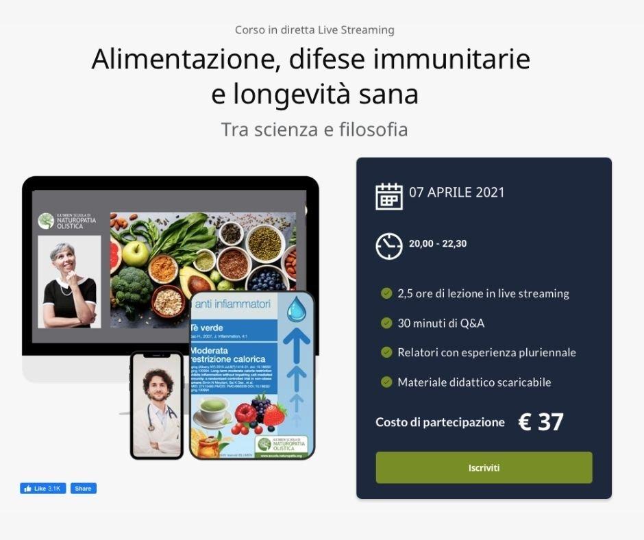 Corso online di alimentazione e longevità